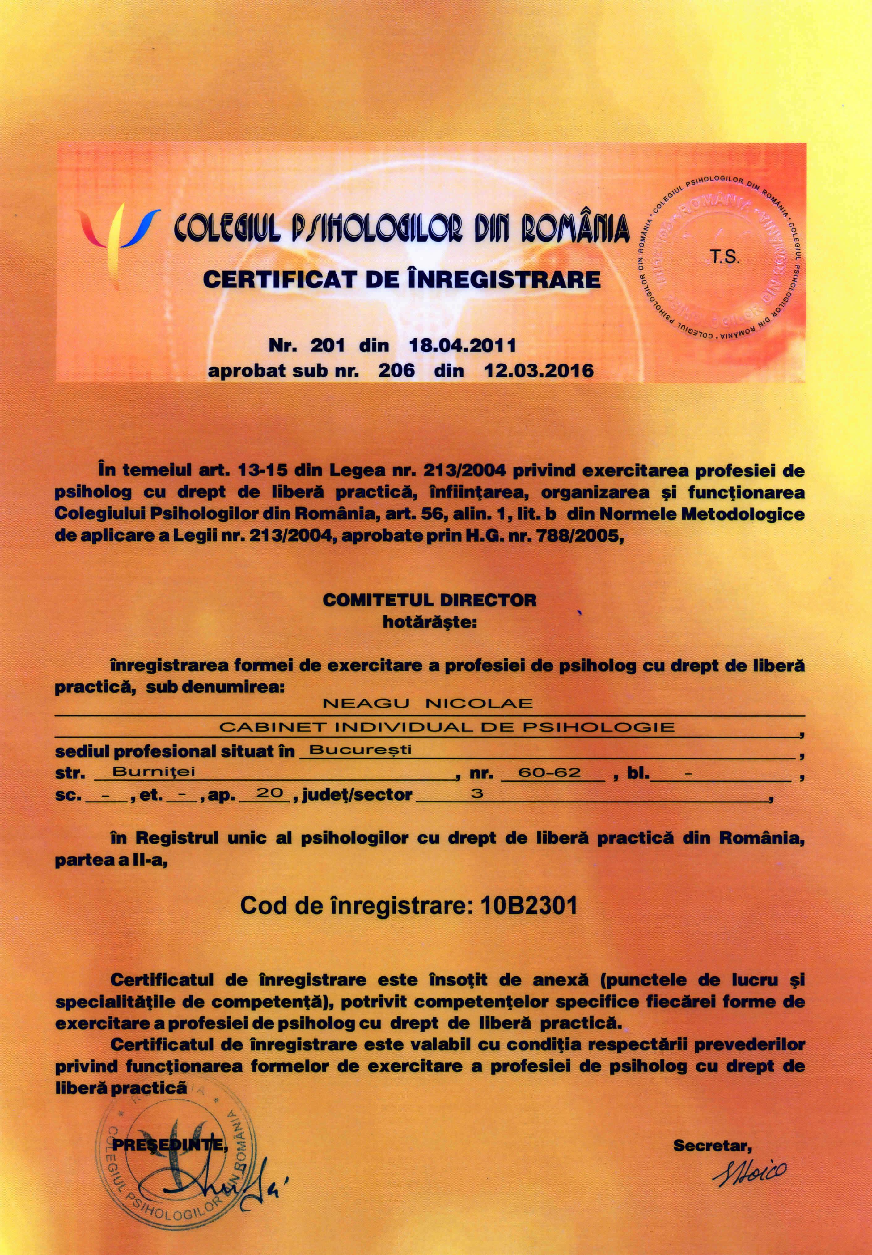 certificat cabinet